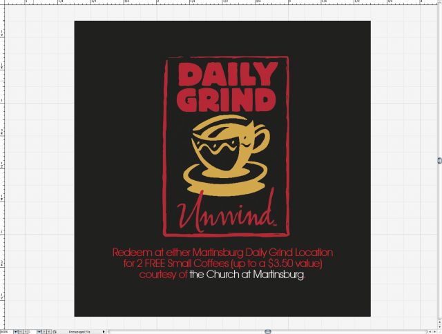 Design on reverse of card features Daily Grind logo and free coffee offer.